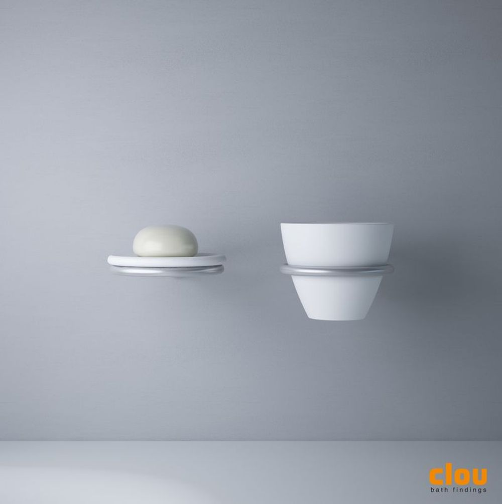 Slim cup and soap holder